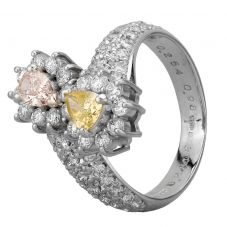 Second Hand Platinum 1.40ct Pink and Yellow Pear Shaped Diamond Offset Double Cluster Ring GMC(116/1/12)