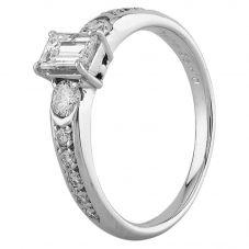 Second Hand Platinum 0.70ct Emerald Cut Diamond Ring GMC(116/2/6)