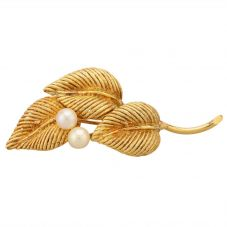 Second Hand 14ct Yellow Gold Pearl Set Leaf Brooch   MG (3680)