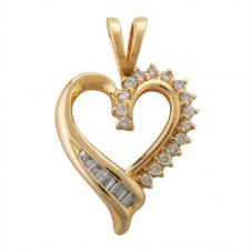 Second Hand 14ct Yellow Gold 0.55ct Baguette and Brilliant Cut Diamond Set Heart Pendant MG (3799)