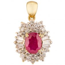 Second Hand 18ct Yellow Gold Ruby and Diamond Pendant 4314134