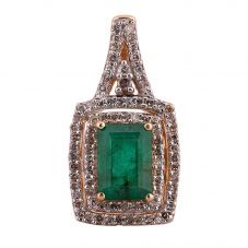 Second Hand 14ct Yellow Gold Emerald and Diamond Pendant 4314185