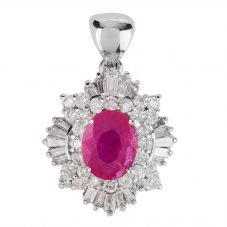 Second Hand 18ct White Gold Ruby and Diamond Pendant 4314395