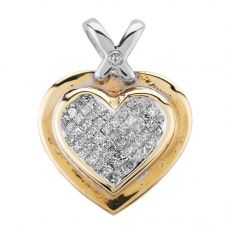 Second Hand 9ct Two Colour Gold Diamond Heart Loose Pendant GMC(64/7/9)