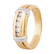 Second Hand 18ct Two Colour Gold Mens Diamond Five Stone Ring 4315007