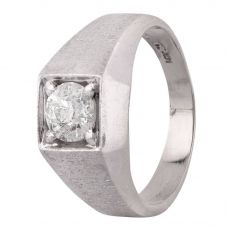 Second Hand 14ct White Gold Mens 0.80ct Diamond Signet Ring 4315017