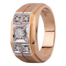 Second Hand 14ct Two Colour Gold 0.30ct Mens Diamond Signet Ring 4315022