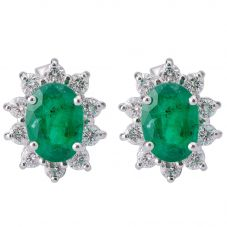 Second Hand 14ct White Gold Emerald and Diamond Earrings 4317121