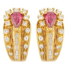 Second Hand 14ct Yellow Gold Ruby and Diamond Earrings 4317125