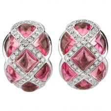 Second Hand 18ct White Gold Pink Tourmaline Earrings 4317126