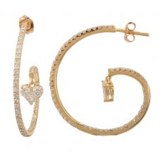Second Hand 14ct Yellow Gold 1.30ct Diamond Heart Hoop Earrings GMC(103/1/3)