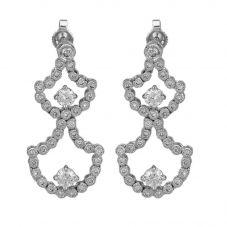 Second Hand 14ct White Gold Diamond Fancy Dropper Earrings 4317129
