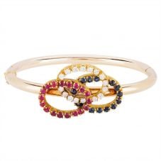Second Hand 9ct Yellow Gold Multi-Stone Hinged Bangle 4321001