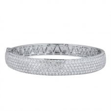 Second Hand 18ct White Gold Diamond Hinged Bangle 4321002