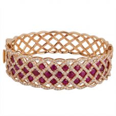 Second Hand 18ct Rose Gold Ruby and Diamond Hinged Bangle 4321094