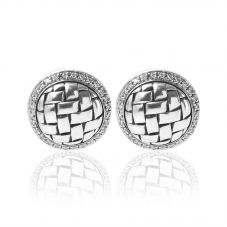 Second Hand Sterling Silver Diamond Set Plaited Stud Earrings 4325135
