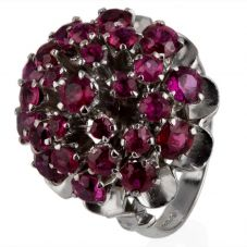 Second Hand Silver Ruby Multi Row Cluster Ring 4325165