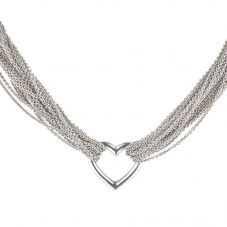 Second Hand Tiffany and Co Sterling Silver Heart T-Bar Necklet 4325167
