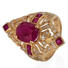 Second Hand 14ct Yellow Gold Ruby and Diamond Dress Ring 4328018