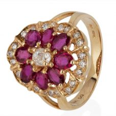 Second Hand 14ct Yellow Gold Ruby and Diamond Three Tier Cluster Ring 4328029
