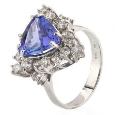 Second Hand 14ct White Gold Tanzanite and Diamond Cluster Ring 4328067