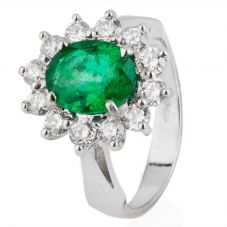 Second Hand 18ct White Gold Emerald and Diamond Cluster Ring 4328075