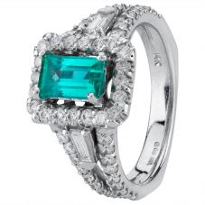 Second Hand 14ct White Gold Emerald and Diamond Ring 4328146