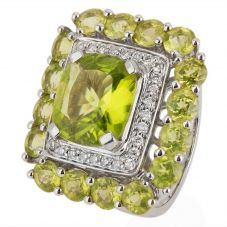 Second Hand 18ct White Gold Peridot and Diamond Cluster Ring 4328153