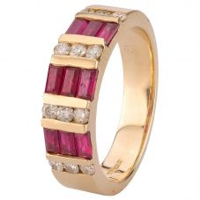 Second Hand 14ct Yellow Gold Ruby and Diamond Ring 4328172