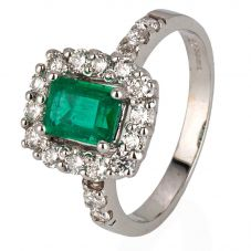 Second Hand 18ct White Gold Emerald and Diamond Cluster Ring 4328179