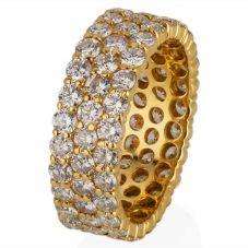Second Hand 18ct Yellow Gold Three Row Diamond Full Eternity Ring 4328183