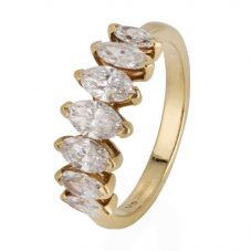 Second Hand 18ct Yellow Gold Marquise Diamond Seven Stone Ring 4328185