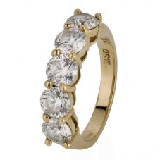 Second Hand 18ct Yellow Gold Five Stone Diamond Half Eternity Ring 4328190