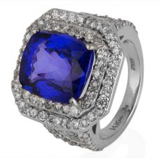 Second Hand 14ct White Gold Tanzanite and Diamond Cluster Ring 4328191