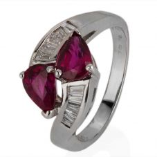 Second Hand 14ct White Gold Ruby and Diamond Crossover Ring 4328204