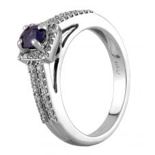 Second Hand 14ct White Gold Sapphire and Diamond Ring GMC(57/12/5)