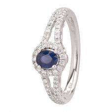 Second Hand 14ct White Gold Sapphire and Diamond Halo Ring GMC(57/13/8)