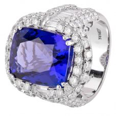 Second Hand 18ct White Gold Tanzanite and Diamond Cluster Ring 4328236