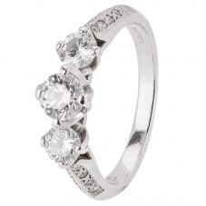 Second Hand 14ct White Gold Diamond Trilogy Ring 4328244