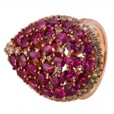 Second Hand 14ct Rose Gold Ruby and Diamond Ring 4328260