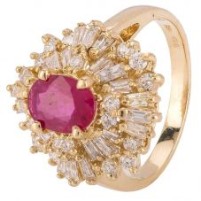 Second Hand 14ct Yellow Gold Ruby and Diamond Ballerina Ring 4328268