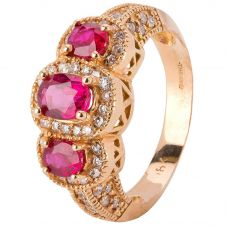 Second Hand 18ct Rose Gold Ruby and Diamond Cluster Ring 4328269