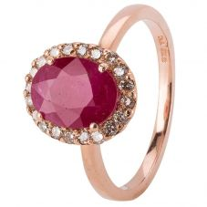 Second Hand 14ct Rose Gold Ruby and Diamond Cluster Ring 4328271