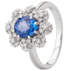 Second Hand 18ct White Gold Sapphire and Diamond Ring 4328272