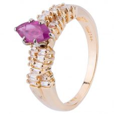 Second Hand 14ct Yellow Gold Ruby and Diamond Ring 4328284