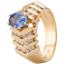 Second Hand 14ct Yellow Gold Sapphire and Diamond Ring 4328286