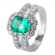 Second Hand 18ct White Gold Emerald and Diamond Ring 4328310