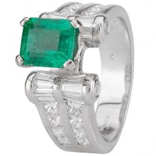 Second Hand 18ct White Gold Emerald and Diamond Ring 4328311