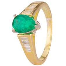 Second Hand 18ct Yellow Gold Emerald and Diamond Ring 4328316
