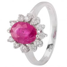 Second Hand 9ct White Gold Ruby and Diamond Cluster Ring 4328318